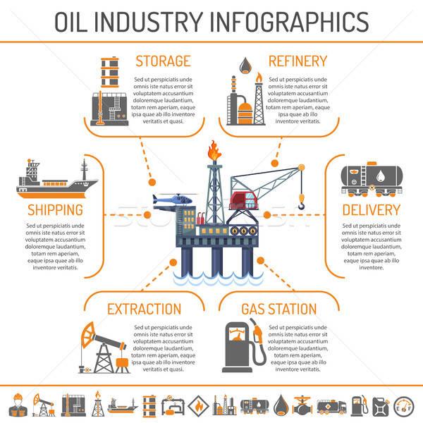 Olie-industrie infographics productie vervoer olie benzine Stockfoto © -TAlex-