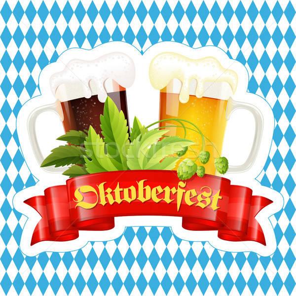 Oktoberfest bier festival poster viering hop Stockfoto © -TAlex-