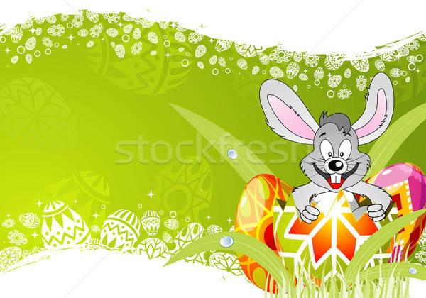 Húsvét keret tojások nyúl dísz fű Stock fotó © -TAlex-