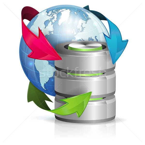 Globális hozzáférés biztonsági mentés cseresznye ikon Föld Stock fotó © -TAlex-