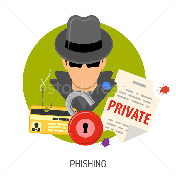 Phishing ícones crime aviador cartaz Foto stock © -TAlex-