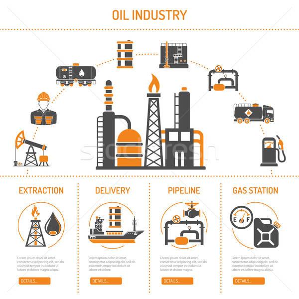 Olie-industrie productie vervoer olie benzine twee Stockfoto © -TAlex-
