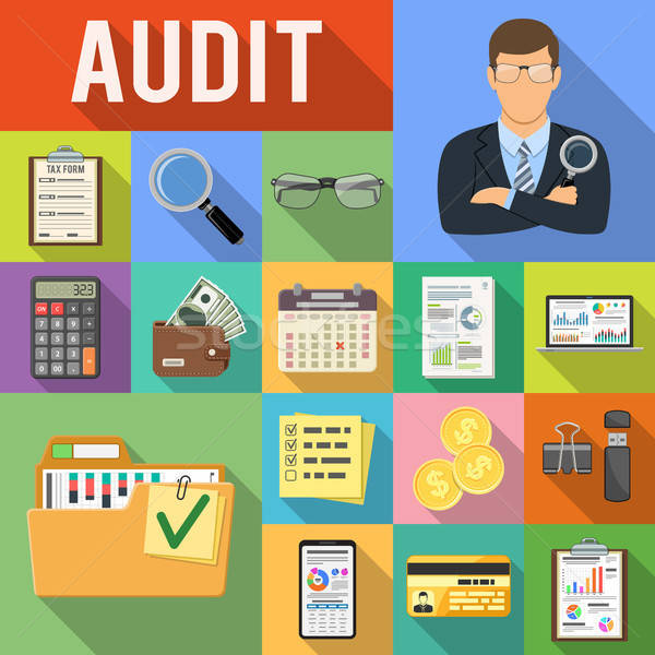 Auditing, Tax, Accounting Flat Icons Set Stock photo © -TAlex-