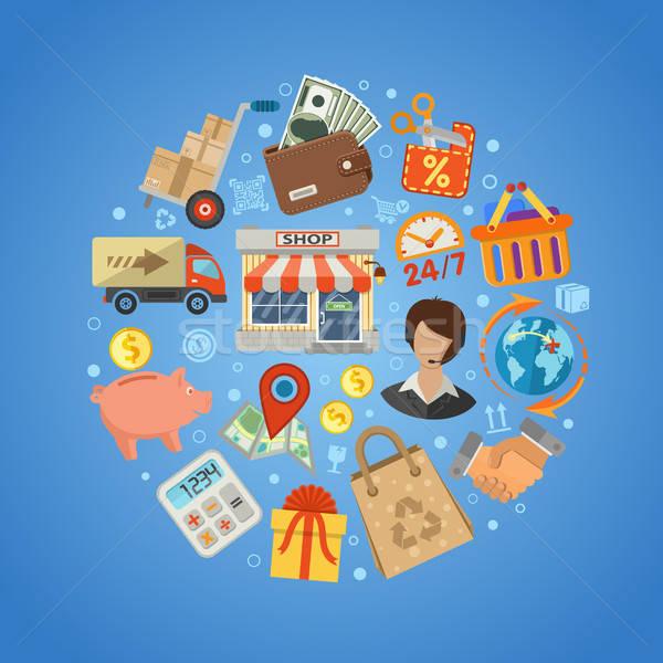 Vásárlás házhozszállítás stílus ikonok bolt vásár Stock fotó © -TAlex-