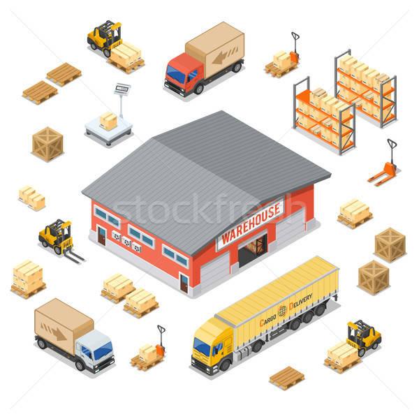 Magazzino stoccaggio consegna isometrica logistica Foto d'archivio © -TAlex-
