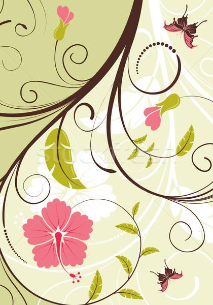 çiçek çerçeve kelebek dizayn doku Stok fotoğraf © -TAlex-
