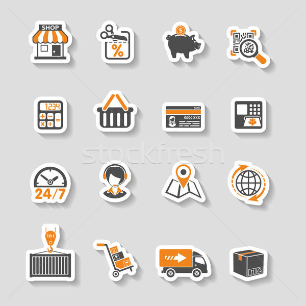 Internet Shopping and Delivery Sticker Icon Set Stock photo © -TAlex-