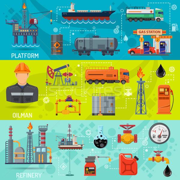 Olie-industrie banners horizontaal iconen raffinaderij vervoer Stockfoto © -TAlex-