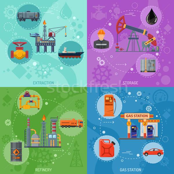 Olie-industrie banners vierkante iconen raffinaderij vervoer Stockfoto © -TAlex-