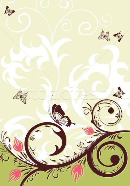Floral mariposa elemento diseno verano verde Foto stock © -TAlex-