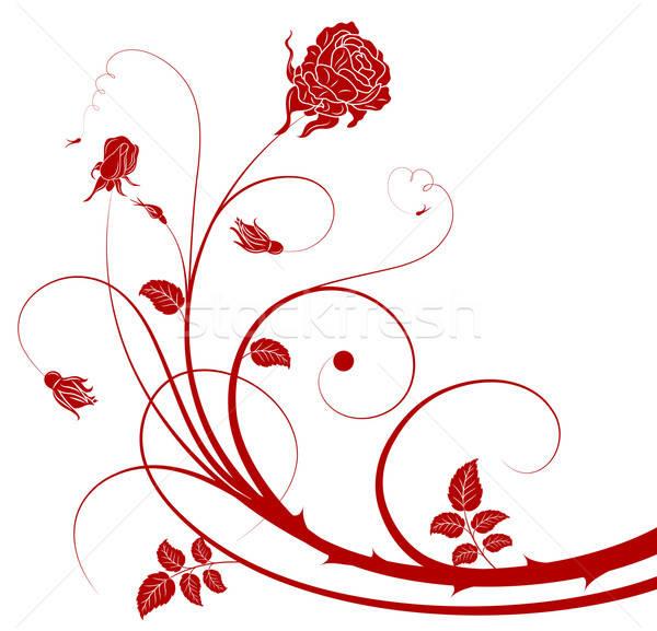Virág kivágás rózsa alkotóelem terv absztrakt Stock fotó © -TAlex-