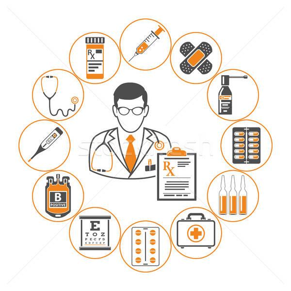 Gyógyszer egészségügy infografika kettő szín ikonok Stock fotó © -TAlex-