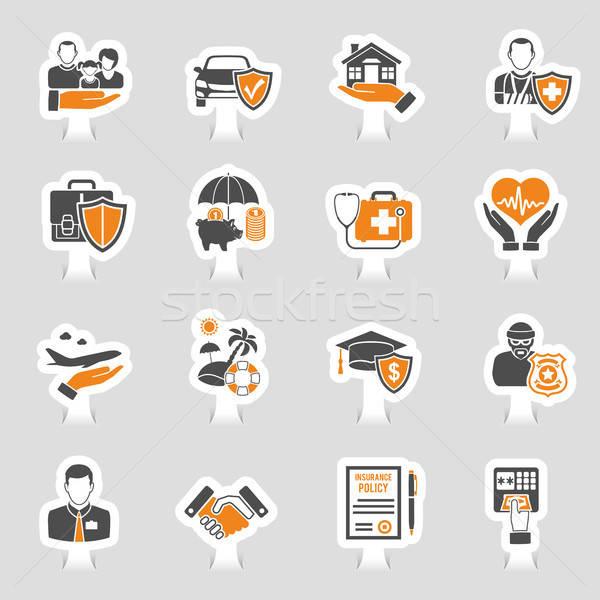 Foto stock: Seguro · ícones · adesivo · conjunto · cartaz