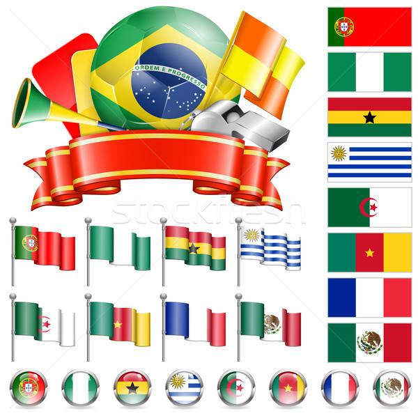 Futball bajnokság világ 2014 Brazília zászlók Stock fotó © -TAlex-