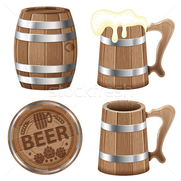 Photo stock: Bière · ensemble · baril · bois · mug · vecteur