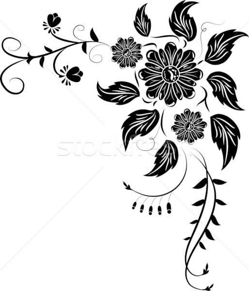 Elemento diseno esquina flor ilustración marco Foto stock © -TAlex-