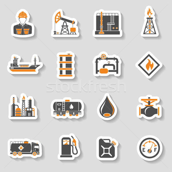 Olajipar ikon szett gyártás közlekedés olaj benzin Stock fotó © -TAlex-