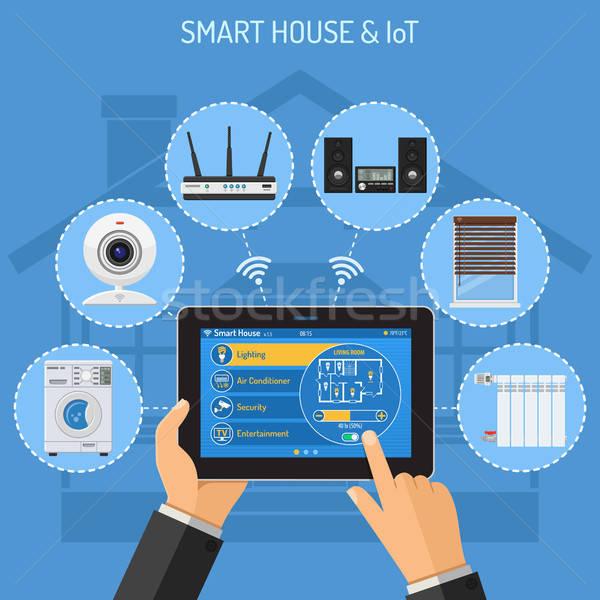 Smart дома интернет вещи иконки человека Сток-фото © -TAlex-