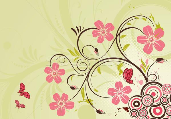 Floral decorativo mariposa círculo naturaleza diseno Foto stock © -TAlex-