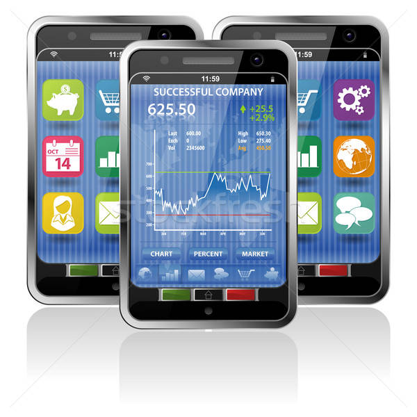 Smartphone with Stock Market Application Stock photo © -TAlex-