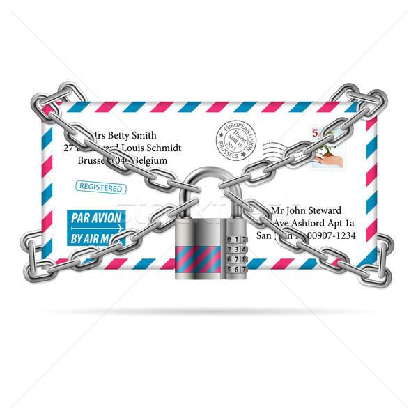 Confidenziale mail codice lucchetto catena lettera Foto d'archivio © -TAlex-
