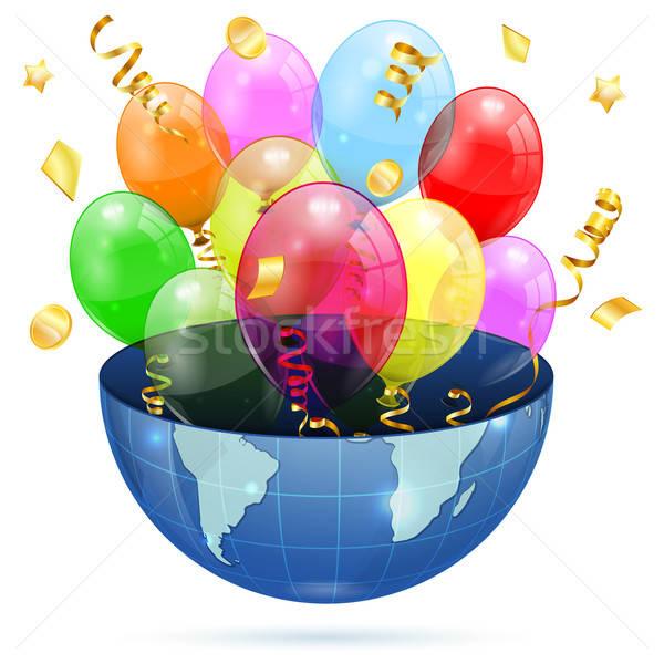 Photo stock: Anniversaire · ballons · terre · 3D · transparent · isolé