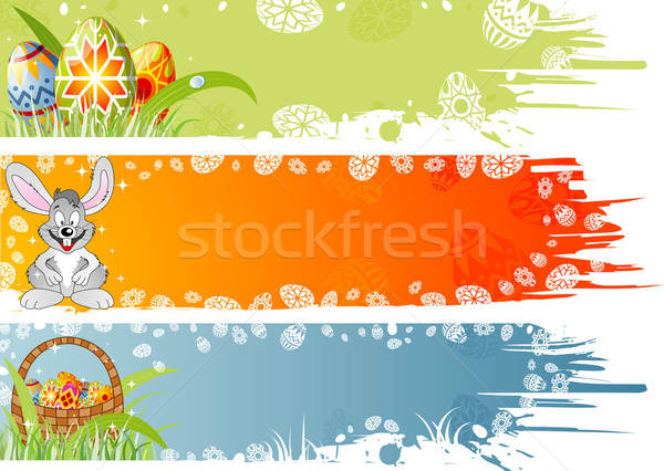 Easter banner with eggs, rabbit and basket Stock photo © -TAlex-