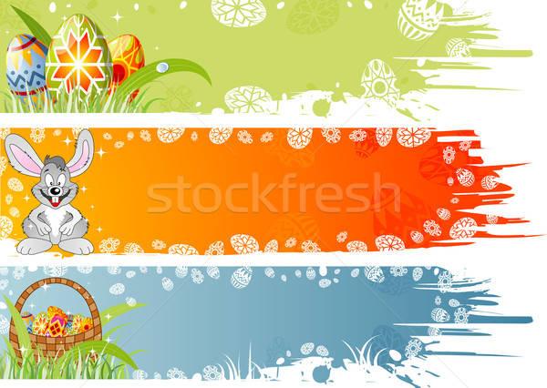Wielkanoc banner jaj królik koszyka ozdoba Zdjęcia stock © -TAlex-