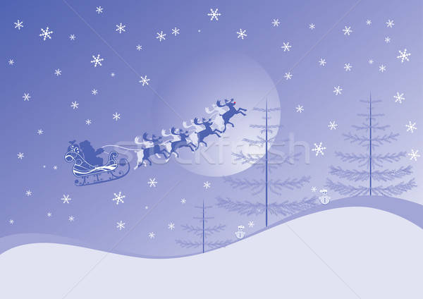 Christmas background with santa and deers, vector Stock photo © -TAlex-