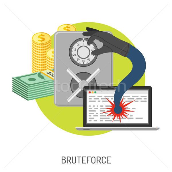 Bűnözés internet biztonság ikon ahogy széf Stock fotó © -TAlex-