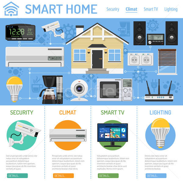 Smart home internet spullen infographics huis Stockfoto © -TAlex-