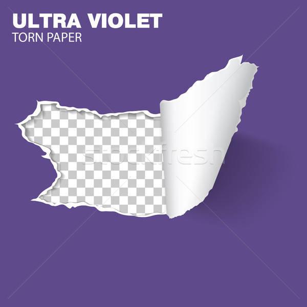 Torn дыра бумаги реалистичный лист фиолетовый Сток-фото © -TAlex-