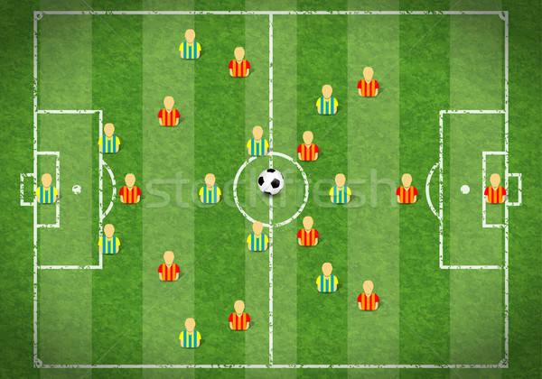 Foto stock: Campo · de · futebol · campo · de · futebol · ícone · jogador · de · futebol · bola · grama