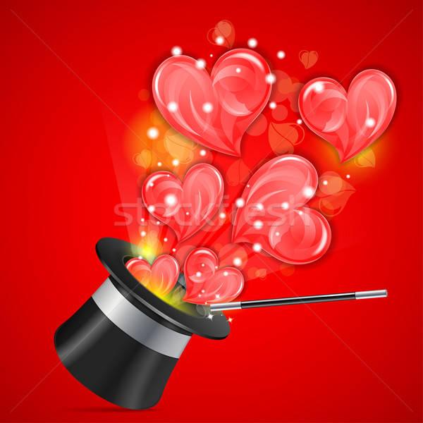 Liefde goochelaar hoed harten bruiloft hart Stockfoto © -TAlex-