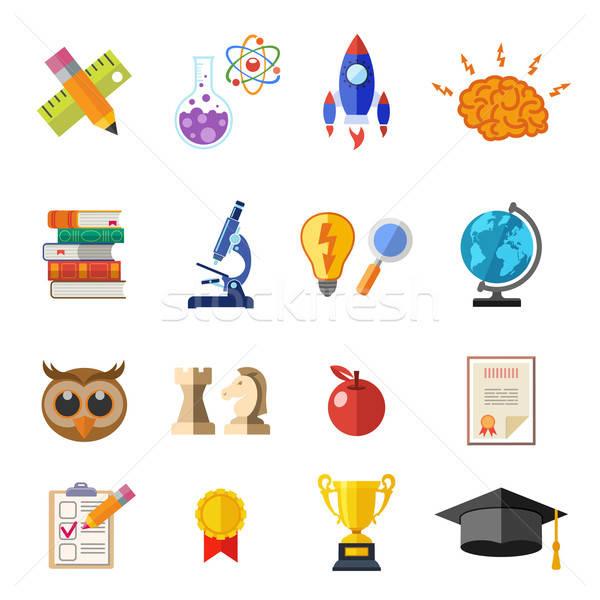 Online Education Flat Icon Set Stock photo © -TAlex-