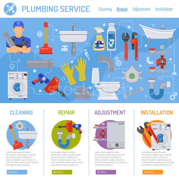 Sanitair dienst infographics installatie schoonmaken reparatie Stockfoto © -TAlex-