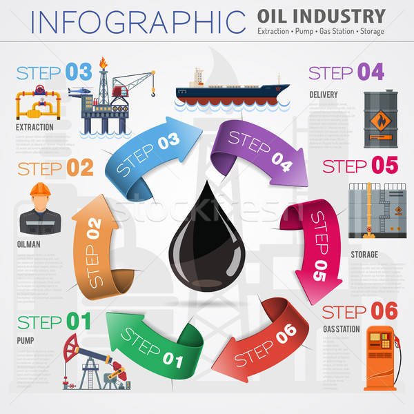 Olie-industrie infographics iconen productie vervoer olie Stockfoto © -TAlex-