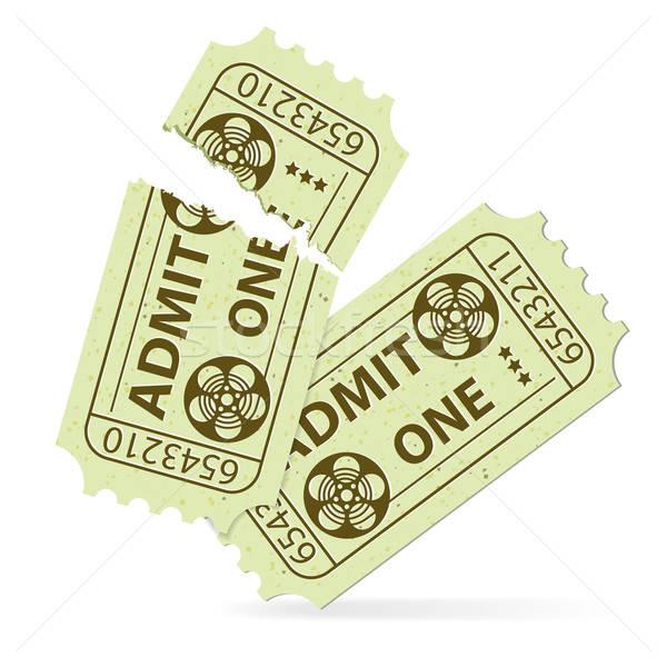 Ingesteld bioscoop ticket twee tickets gescheurd Stockfoto © -TAlex-