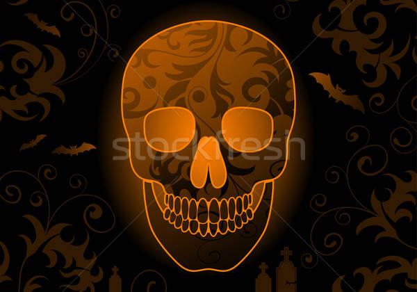 Halloween schedel bat element ontwerp textuur Stockfoto © -TAlex-