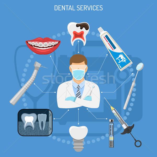 Zahnärztliche Dienstleistungen Symbole Zahnarzt Hosenträger Bohrer Stock foto © -TAlex-
