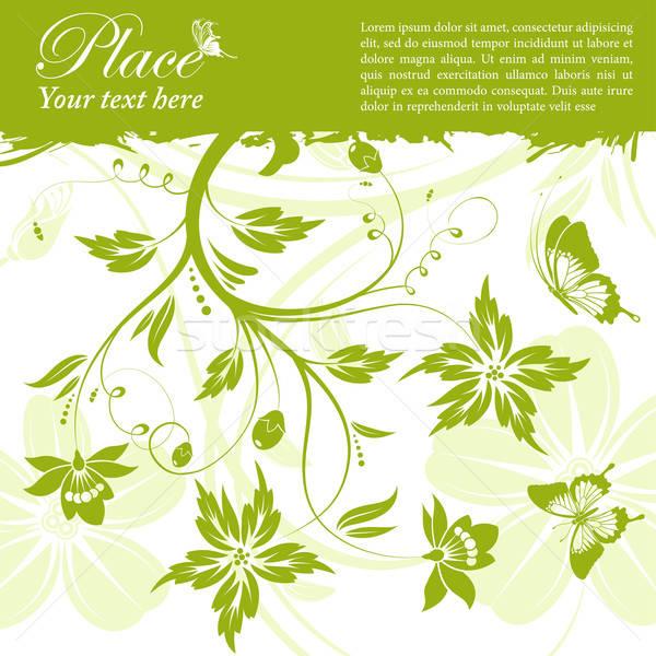 Сток-фото: цветочный · кадр · Гранж · бабочка · элемент · дизайна
