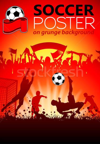 Foto stock: Fútbol · anunciante · jugadores · aficionados · grunge · deporte