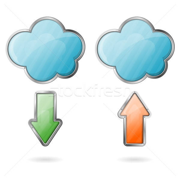 Downloaden cloud icoon downloaden icoon vector Stockfoto © -TAlex-