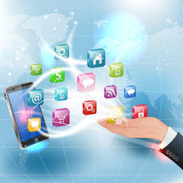 Stockfoto: Toepassingen · mobiele · business · hand · smartphone