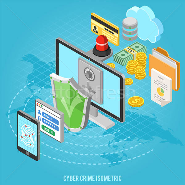 Cyber crime isometric concept Stock photo © -TAlex-