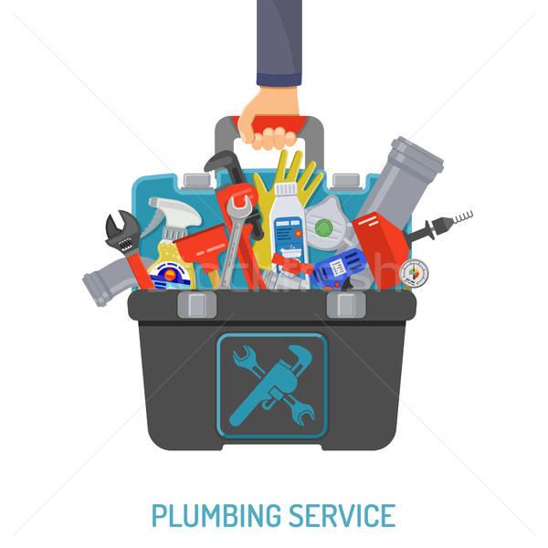 Plomberie Ouvrir la plombier outils boîte à outils icônes Photo stock © -TAlex-