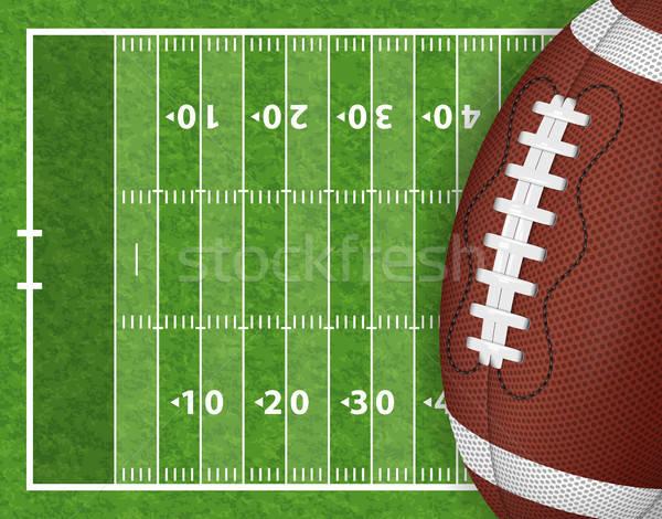 Americano campo de fútbol realista pelota línea hierba Foto stock © -TAlex-