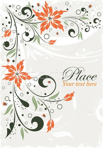 цветочный кадр Гранж Ladybug элемент дизайна Сток-фото © -TAlex-