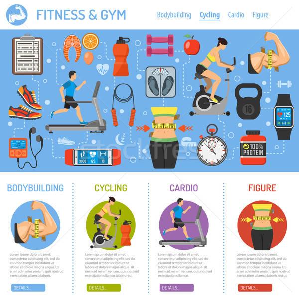 Foto stock: Fitness · gimnasio · infografía · cardio · móviles