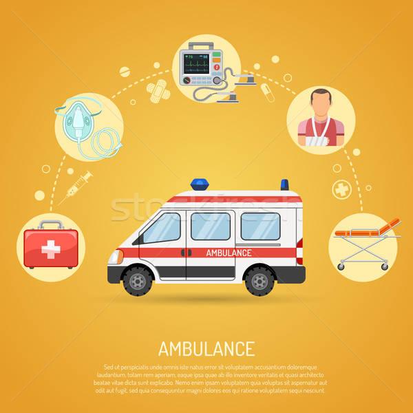 Médico emergência ambulância ícones carro desfibrilador Foto stock © -TAlex-